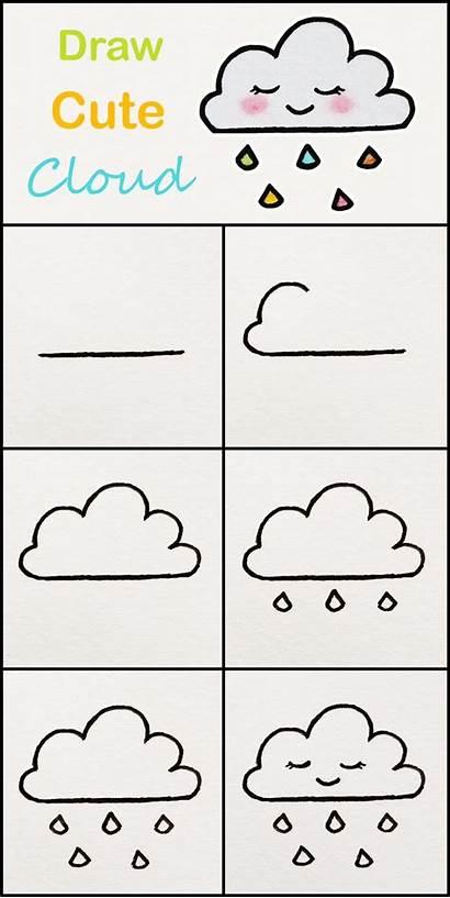 Step Draw Drawings Simple Kawaii Cloud Very