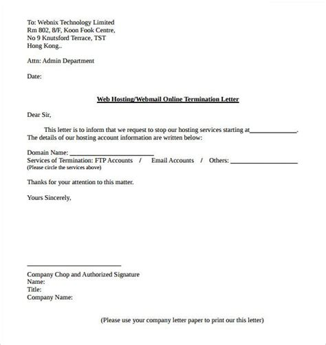 service termination letter templates word