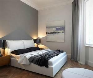 Wandfarbe Grau Schlafzimmer : schlafzimmer dekorieren modern wandfarbe grau wei es polsterbett b e d r o o m pinterest ~ One.caynefoto.club Haus und Dekorationen