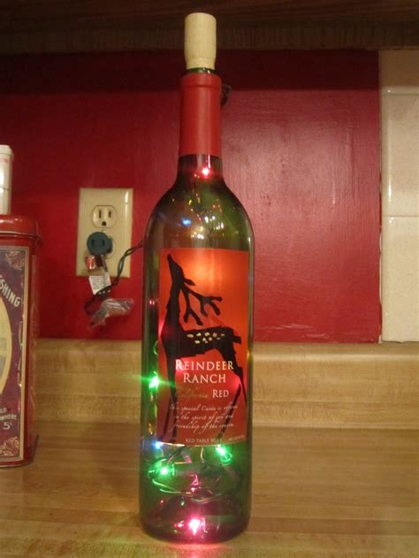 wine bottle with lights inside create