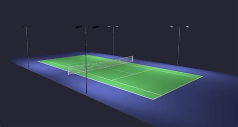 outdoor tennis court led lighting pole package 4 poles 8
