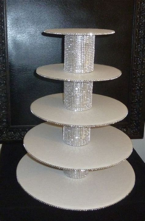 5 tier bling faux rhinestone white cupcake stand tower