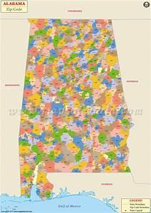 Buy Alabama Zip Code Map