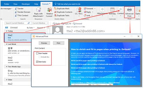 email print how to shrink and fit to pages when printing in outlook
