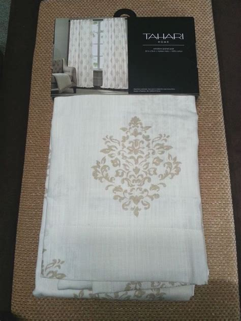 tahari medallion damask tan beige ivory 2 window curtain