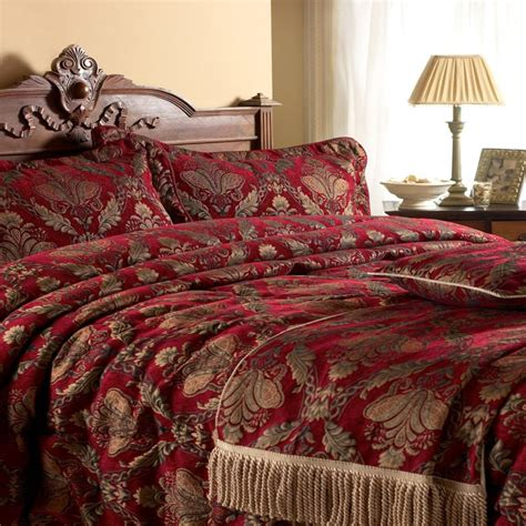 stunning red gold tapestry comforter bedspread