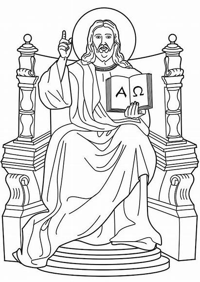 Throne Jesus Heaven Clipart Lord Clip Coloring