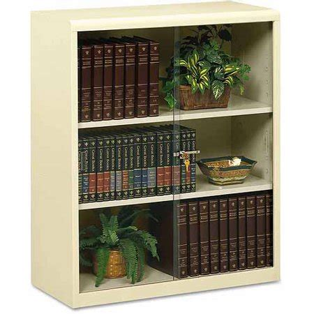 Walmart Bookcase With Glass Doors by Tennsco Executive 3 Shelf Steel Bookcase With Glass Doors