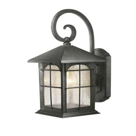 hton bay 1 light aged iron outdoor wall lantern y37029