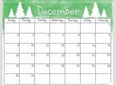 Monthly December Calendar 2018 Printable Office