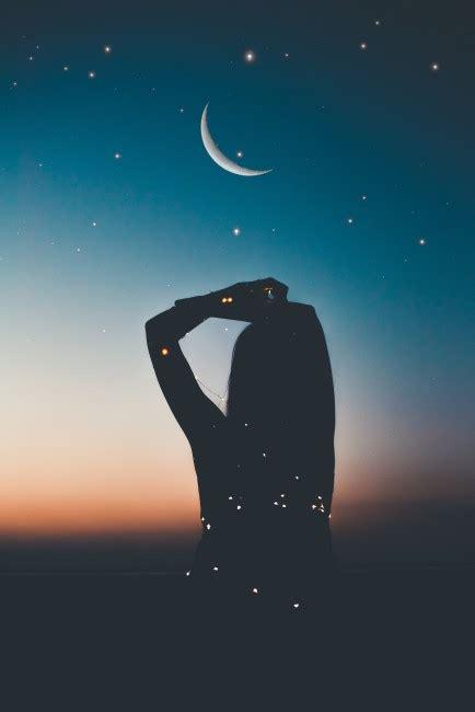 silhouette starry sky stars moon night  stock