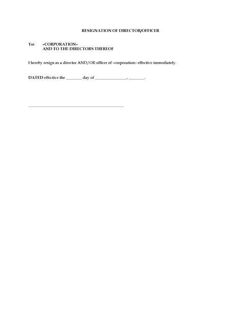 resignation form  director  officer  corporation
