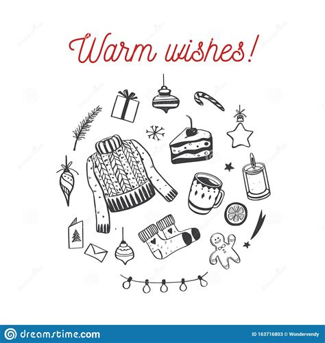 Merry Christmas And Happy New Year Vector Card Warm