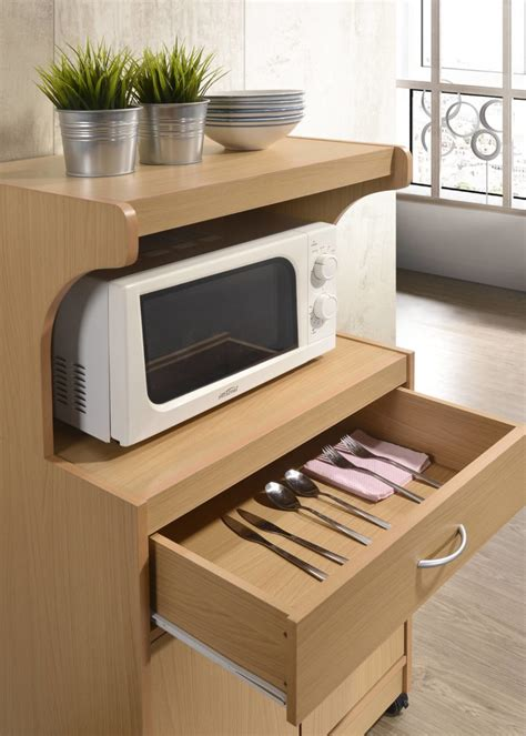 hodedah microwave cart  wheels storage  shelf