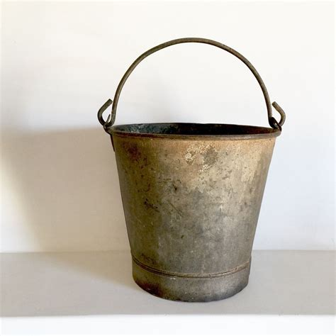 French Antique Metal Bucket Amazing Patina Rustic