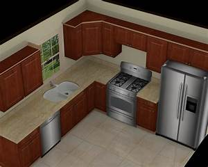 Kitchen great 10x10 3d kitchen design with brown cabinet for Kitchen modals in archetactur