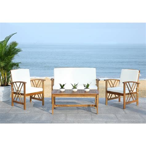 Safavieh Outdoor Furniture by Safavieh Fontana 4 Patio Seating Set Beige Cushions