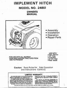 Murray 24801 User Manual Implement Hitch Manuals And