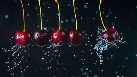 Liquid, Water, Cherries, Fruit Hd Wallpapers / Desktop And