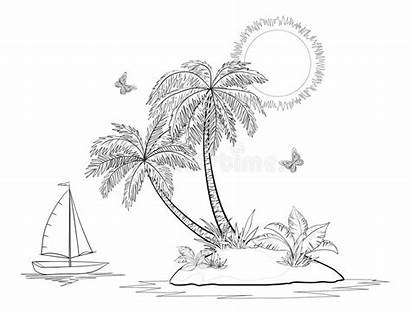 Island Palm Ship Sunset Coloring Pages Sea
