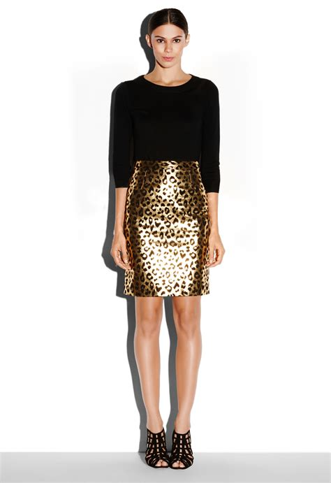 Milly Leather Pencil Skirt In Gold Gold Ylw Lyst