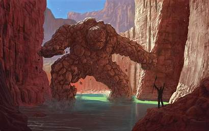Fantasy Golem Artwork Rock Canyon Cliff Cave