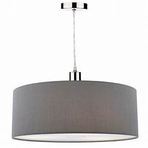 Contemporary grey faux silk easy fit pendant shade with