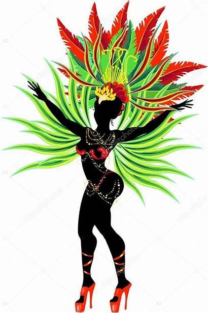 Samba Dancer Silhouette Illustration Vector Carnival Costume