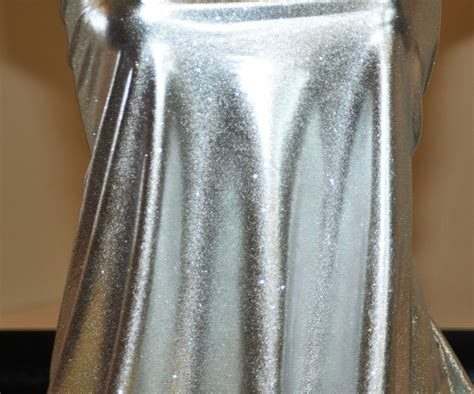stretch foil spandex foil stretch lame glittered fabric silver