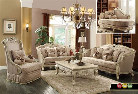 Luxury Traditional Sofa Set Antique White Exposed Wood W