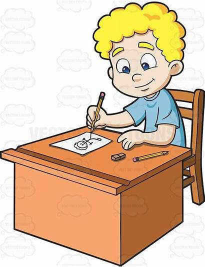 Sketching Stick Boy Vectortoons Sketch Figure Desk