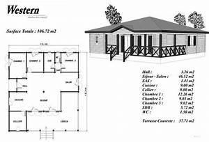 plan maison bois modele bouleau loggia en angle balustrade With plan maison bois sur pilotis