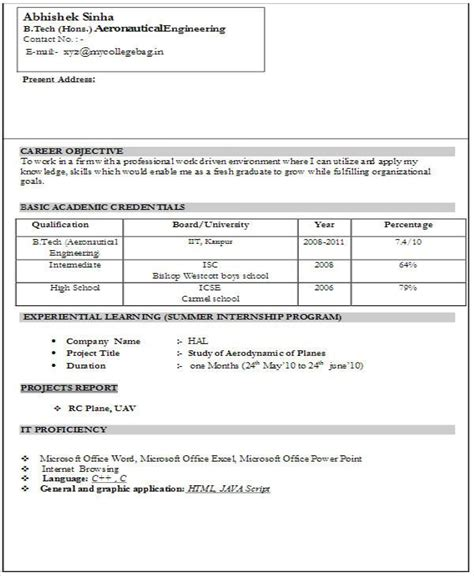 Resume Sles For Freshers by A Resume Format For Fresher Resume Format