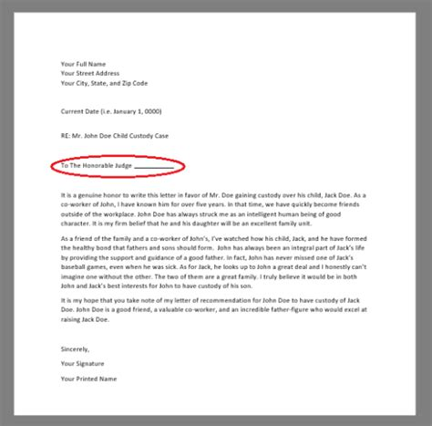 writing a letter to a judge free character reference letter for court template 14447