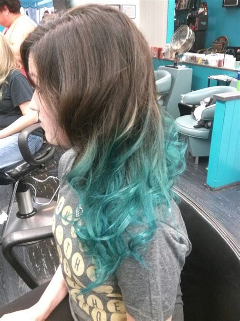 dark brown  teal ombre hair pinterest ombre