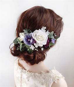 AMELIE White And Purple Flower Bridal Hair Clip