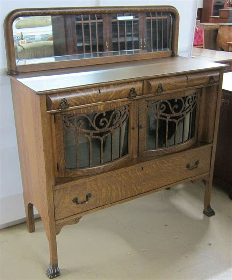 Glass Front Buffet Sideboard by Antique Sideboard Tiger Oak Curved Glass Doors Ebay