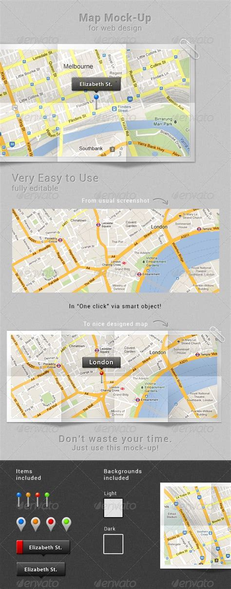map mock  psd template  httpsgraphicriver
