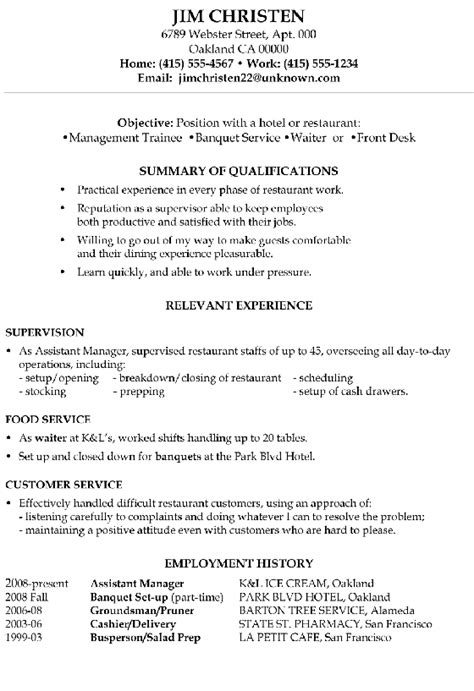 Restaurant Management Resume by Resume Sle Hotel Management Trainee And Service