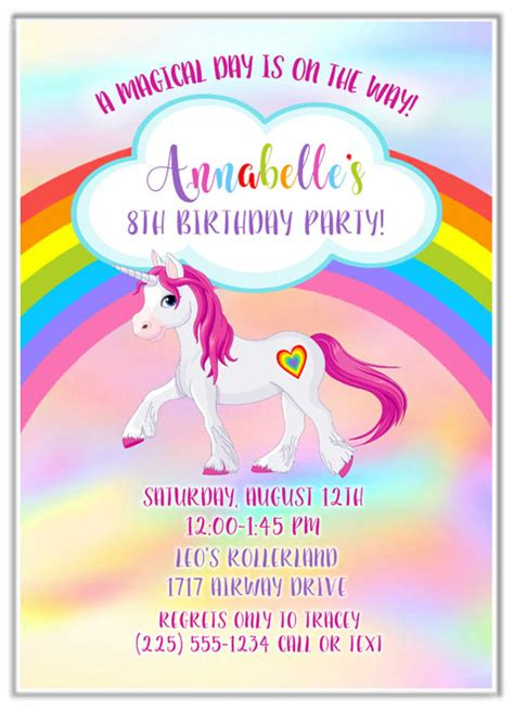 wedding place card rainbow unicorn birthday invitations birthday