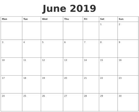 Printable Blank Calendar June July August 2019