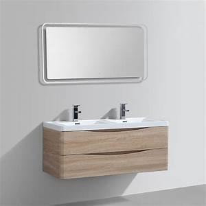 Meuble Vasque Double : import diffusion meuble salle de bains double vasque miroir led smile distriartisan ~ Teatrodelosmanantiales.com Idées de Décoration