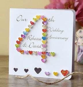 Handmade 4th Wedding Anniversary, Personalised Fourth ...