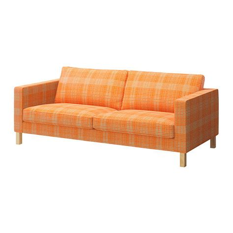 Ikea Karlstad 3 Seat Sofa Slipcover Cover Husie Orange Print