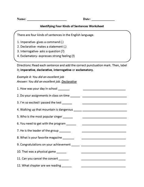 kinds of sentences worksheets practicing four kinds of