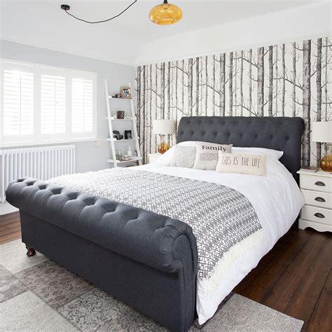 classic bedroom makeover  woodland wallpaper