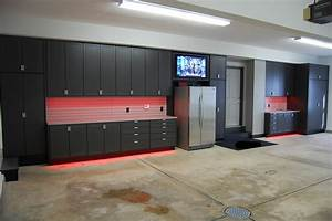 Garage design with concrete garage floor and garage for Kitchen cabinets lowes with metal car wall art