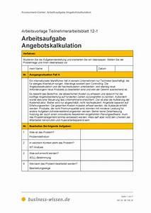 Personalbedarf Berechnen : teilnehmerarbeitsblatt arbeitsaufgabe angebotskalkulation vorlage business ~ Themetempest.com Abrechnung