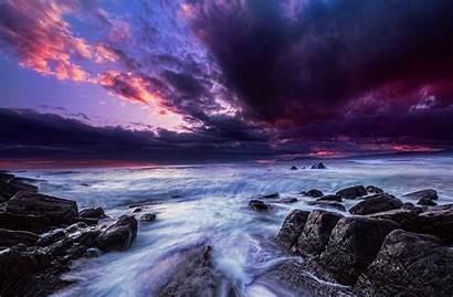 Purple Ocean Sunset Wallpapers Background Backgrounds Horizon