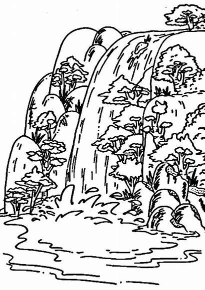Waterfall Coloring Pages Falls Niagara Printable Drawing